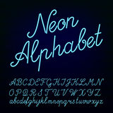 Neon tube hand drawn alphabet font Stock Images