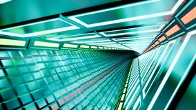 Neon tunnel 3d render abstract background stock video