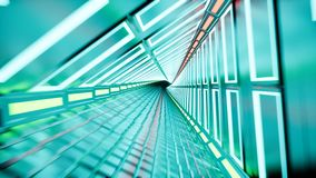 Neon tunnel 3d render abstract background stock footage