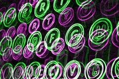 Neon typewriter keys close up Stock Images