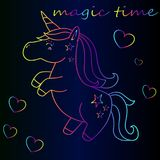 Neon Unicorn Adventure Time Royaltyfri Fotografi