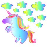 The Magic Unicorn - child outline vector. Neon unicorn with clouds - beautiful baby vector. Idea for children`s collage - fairytale style Royalty Free Stock Photography