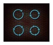 Neon Upload, Reload Signs Vector Isolated On Brick Wall. Load Light Symbol, Decoration Effect. Neon Royalty Free Stock Photography