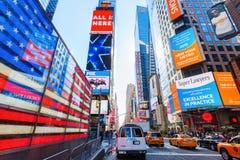 Neon-US-Flagge manchmal Quadrat, NYC Stockfotos
