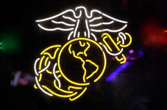 Neon US Marine Corps Symbol Stock Photos
