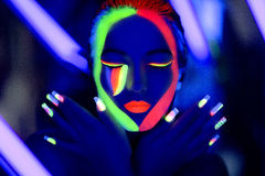 Neon uv art make up Royalty Free Stock Images