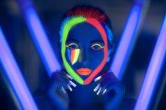 Neon uv art make up Royalty Free Stock Photos