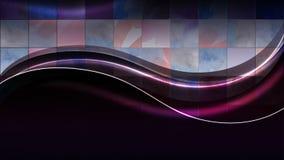 Neon vågr på bakgrunden av fyrkanterna Royaltyfri Foto