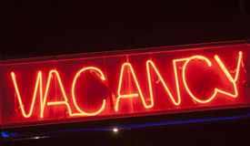 Neon vacancy sign for motel. Stock Images