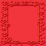 Neon valentine frame. Valentine red neon  hearts frame  on cutout  center Stock Photo