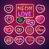 Neon Valentines Day Sticker Pack. Valentines Day glowing neon sticker pack makes it quick and easy to customize your romance projects. Each of icon is named and Royalty Free Stock Photos
