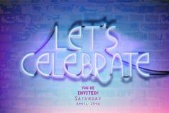 Neon van letters voor*zien-gelaten ` s vieren-op een bakstenen muur stock illustratie