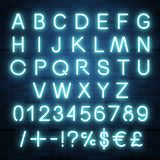 Neon vector alphabet, set of realistic fluorescent glowing letters, numbers and symbols. Design vector illustration