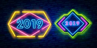 2019 neon. Vector realistic isolated neon sign of 2019 logo for decoration and covering on the wall background. Concept of Merry. Vector realistic isolated neon stock illustration