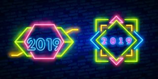 2019 neon. Vector realistic isolated neon sign of 2019 logo for decoration and covering on the wall background. Concept of Merry. Vector realistic isolated neon vector illustration