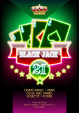 Neon vector template promo poster for casino night event Royalty Free Stock Photo