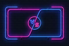 Neon versus banner. Game battle glowing frame, boxing match screen, sport competition outline concept. Vector versus. Battle screen vector illustration