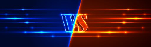 Neon Versus Logo. VS Vector Letters Illustration. Competition Icon. Fight Symbol.  Royalty Free Stock Photo