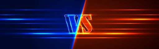 Neon Versus Logo. VS Vector Letters Illustration. Competition Icon. Fight Symbol.  Stock Photography