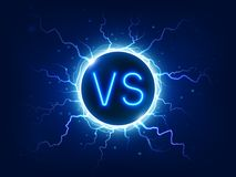 Neon versus sign. VS competition symbol with lightning, electrical discharges. Duel, fight and battle icon vector. Neon versus sign. VS competition symbol with vector illustration