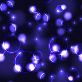 Neon violet bokeh effect seamless pattern. Neon purple bokeh effect seamless pattern. Dark background with Glowing sparkling circles and rings in violet colors vector illustration