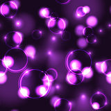 Neon violet bokeh effect seamless pattern. Neon purple bokeh effect seamless pattern. Dark background with Glowing sparkling circles and rings in pink colors stock illustration