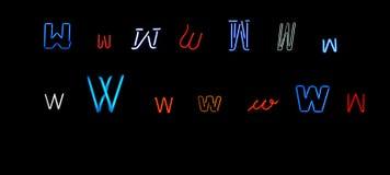 neon w för samlingsbokstav Royaltyfri Bild