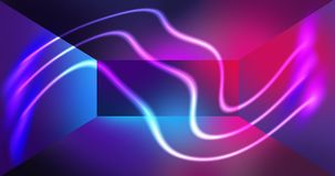 Neon wall background, glowing lines, neon lights. Virtual reality, abstract psychedelic background, ultraviolet, bright colors Royalty Free Stock Image