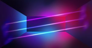 Neon wall background, glowing lines, neon lights. Virtual reality, abstract psychedelic background, ultraviolet, bright colors Royalty Free Stock Photo