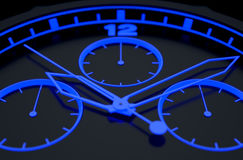 Neon Watch Face. A macro closeup of a modern neon blue lit watch face in black - 3D render Royalty Free Stock Photos