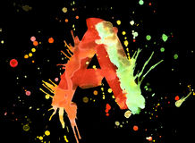 Neon watercolor paint - letter A Royalty Free Stock Photography