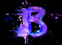 Neon watercolor paint - letter B Royalty Free Stock Photo