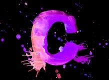 Neon watercolor paint - letter C Stock Photos