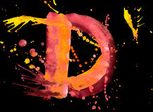 Neon watercolor paint - letter D Stock Photography