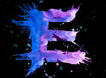 Neon watercolor paint - letter E Royalty Free Stock Image