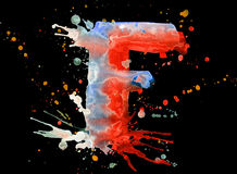 Neon watercolor paint - letter F Stock Photography