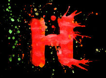 Neon watercolor paint - letter H Stock Photos