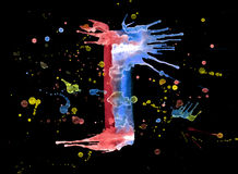 Neon watercolor paint - letter I Royalty Free Stock Photo