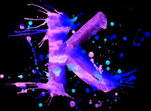 Neon watercolor paint - letter K Royalty Free Stock Images