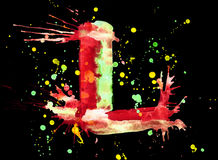 Neon watercolor paint - letter L Stock Photos