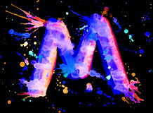 Neon watercolor paint - letter M Stock Image