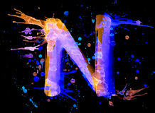 Neon watercolor paint - letter N Stock Photos