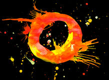 Neon watercolor paint - letter O Royalty Free Stock Photography