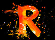 Neon watercolor paint - letter R Royalty Free Stock Image