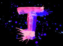 Neon watercolor paint - letter T Royalty Free Stock Photography