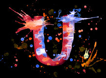 Neon watercolor paint - letter U Stock Photo