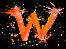 Neon watercolor paint - letter W Stock Photo