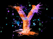 Neon watercolor paint - letter Y Stock Photos