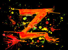Neon watercolor paint - letter Z Royalty Free Stock Image