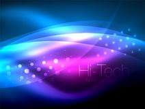 Neon wave background with light effects, curvy lines with glittering and shiny dots, glowing colors in darkness, magic. Neon wave background with light effects Stock Images